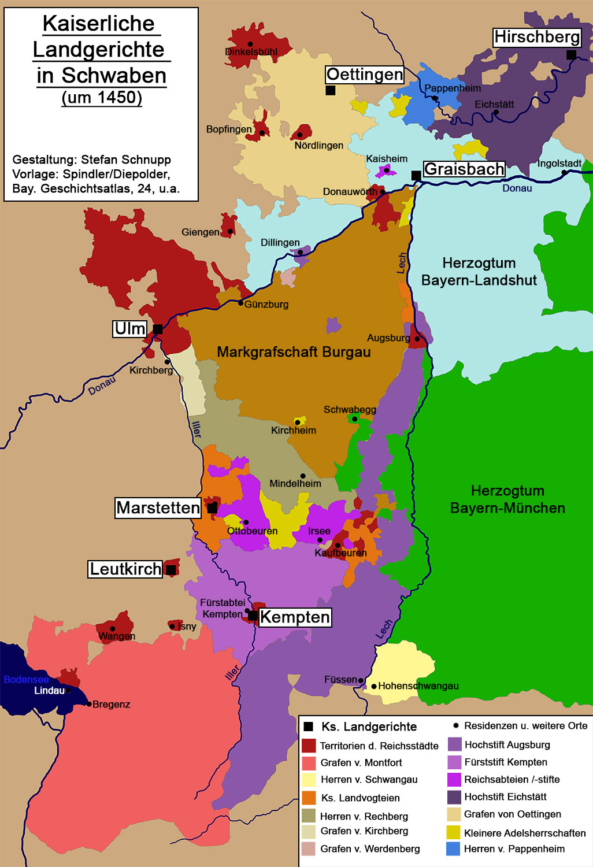 Schwaben Karte.Kaiserliche Landgerichte In Schwaben Historisches Lexikon Bayerns