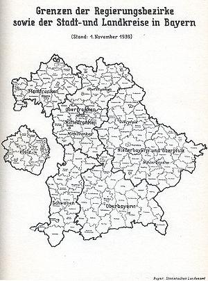 Landkreise Mittelfranken Karte.Regierungsbezirke Historisches Lexikon Bayerns