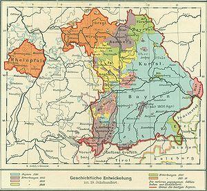 Karte Bayern.Staatsgebiet 19 20 Jahrhundert Historisches Lexikon Bayerns