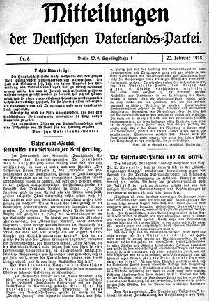 Der Artikel deutsche vaterlandspartei dvlp 1917 18 historisches lexikon bayerns