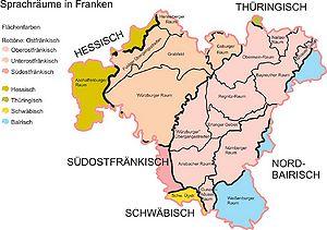 Karte Oberfranken Unterfranken Mittelfranken.Frankische Dialekte Historisches Lexikon Bayerns