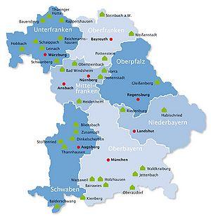 Karte Oberfranken Unterfranken Mittelfranken.Schullandheime Historisches Lexikon Bayerns