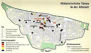 Karte Regensburg Altstadt.Geschlechterturme Historisches Lexikon Bayerns